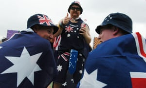 Three men wearing Australian flags at the Big Day Out, 2007.
