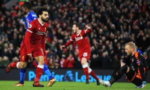 Mohamed salah double inspires liverpool fightback after vardy opener mohamed salah celebrates scoring liverpools equaliser against leicester city at anfield stopboris Gallery