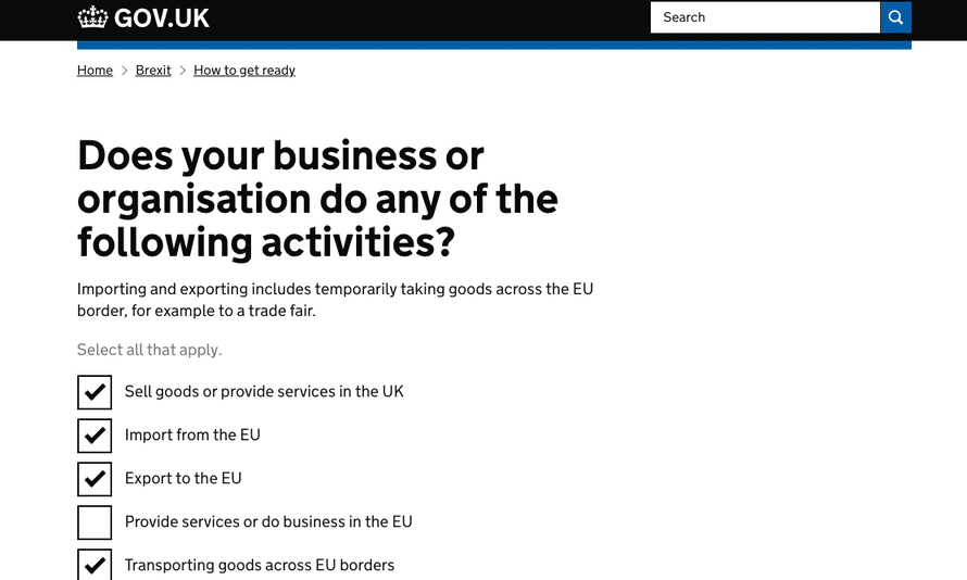 Brexit website business questions