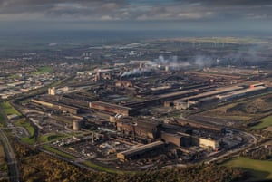 An aerial view of Scunthorpe Steel Works