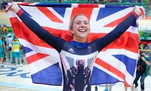 Laura Trott waves union jack at Rio Olympics