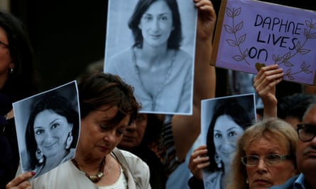A demonstration over the death of Daphne Caruana Galizia outside the courts of justice in Valletta, Malta on May 16, 2018.