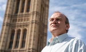 Ed Davey MP acting co-leader of the Liberal Democrats outside the palace of Westminster