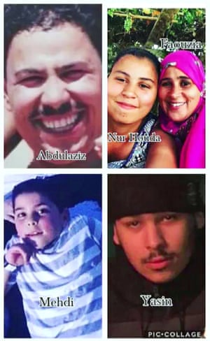The El Wahabi family (clockwise from top left): Father Abdulaziz, daughter Nur Huda, mother Faouzia, and sons Yasin and Mehdi.