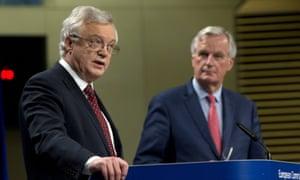 David Davis, pictured with Michel Barnier