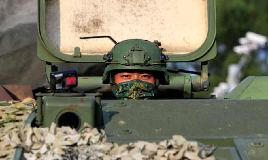 Taiwanese soldiers take part in a military training exercise