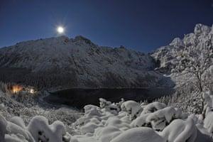 Zakopane, Poland The supermoon is seen over Lake Morskie Oko in the Tatra Mountains