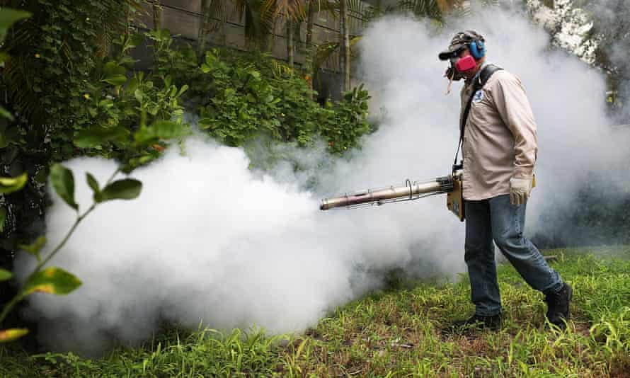 A Miami-Dade County mosquito control inspector, sprays pesticide to kill mosquitoes in Miami Beach, Florida.