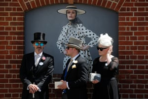 Racegoers waiting by the entrance to the Royal Enclosure on Ladies Day.