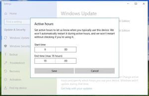 Windows 10's 'Active hours' functionality.
