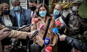 The Paris mayor, Anne Hidalgo, outside the Librairie des Abbesses bookstore in Montmartre