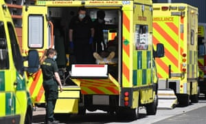A patient is brought into the Royal London hospital in London.