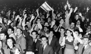 Young people in Tel Aviv celebrate the creation of a Jewish state