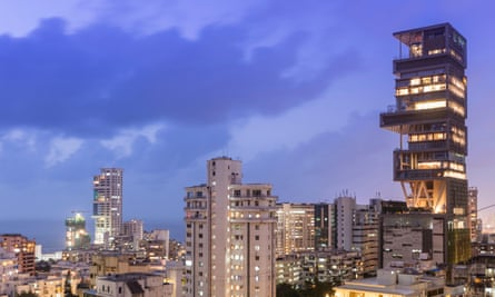 The Antilia building, at right of photograph, in Mumbai.