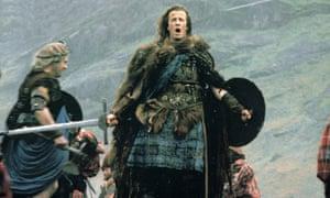 Kilts and car batteries … Christopher Lambert in 1986's Highlander