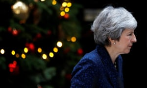 The prime minister, Theresa May, addresses the media outside 10 Downing Street after it was announced that the Conservative party will hold a vote of no confidence in her leadership on Wednesday 12 December. Reuters/Peter Nicholls