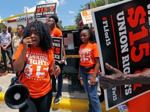 A Fight for $15 minimum wage protest in Fort Lauderdale last year.