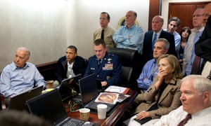Hillary Clinton sits among top Obama administration officials in the White House Situation Room as they watch the operation that led to the death of Osama bin Laden.