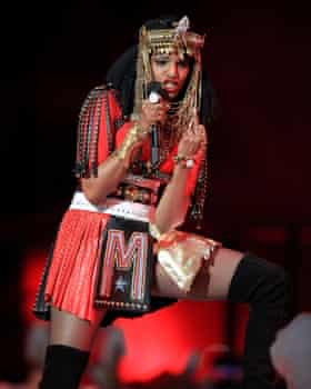 'Infuriated by America's hypocritical propriety' ... MIA performs at the Super Bowl, 5 February 2012.