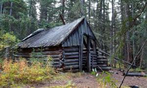 Remains of log cabins at Mason Landing, Teslin River, Yukon, Canada.
