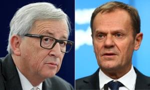 Donald Tusk and Jean-Claude Juncker.