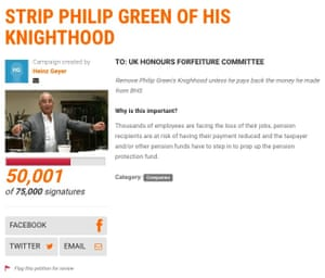 Online petition calling for Sir Philip Green to lose his knighthood