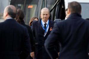 The dictator's eldest grandson, Francis Franco, arrives at the mausoleum
