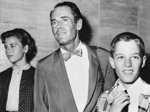 Fonda with her father, Henry, and brother, Peter, in Rome in 1955.