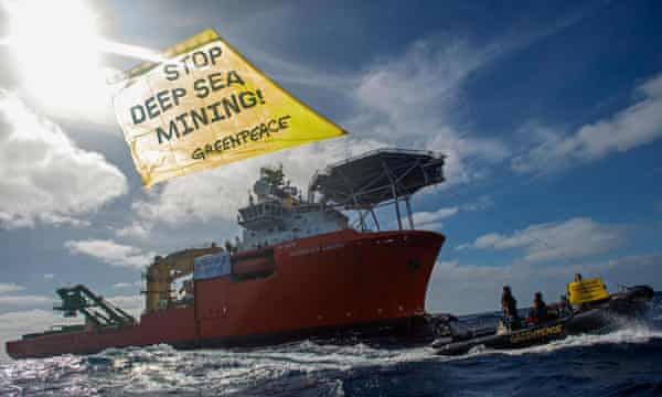 Greenpeace International activists protest against deep sea mining company Global Sea Mineral Resources
