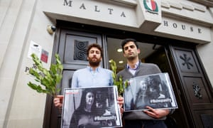 Matthew Caruana Galizia (left) and Paul Caruana Galizia, the sons of the murdered Maltese journalist Daphne Caruana Galizia, attend a vigil outside the Maltese high commission in London, six months after she was assassinated.