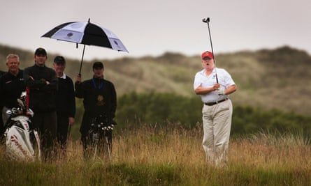 Trump playing at his course in Aberdeenshire