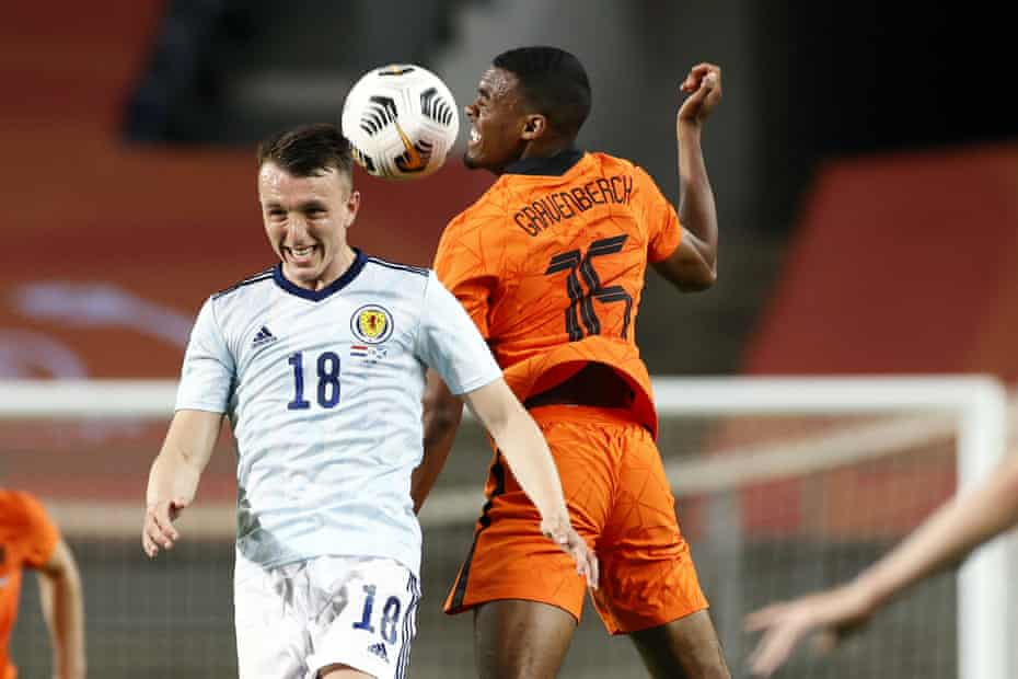 David Turnbull playing for Scotland against the Netherlands.