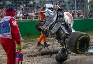 As the cars were removed, both drivers were taken to the medical centre for assessment and given the all-clear. 'I'm sure his marbles are rattled a little bit,' McLaren's chairman, Ron Dennis, said of Alonso. The stewards investigated the crash but found neither driver to be at fault.