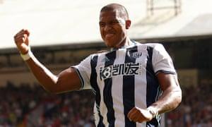 West Brom's Salomón Rondón celebrates scoring against Crystal Palace at Selhurst Park.