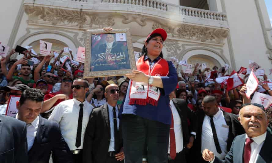 Abir Moussi leading a protest in Tunis in July this year