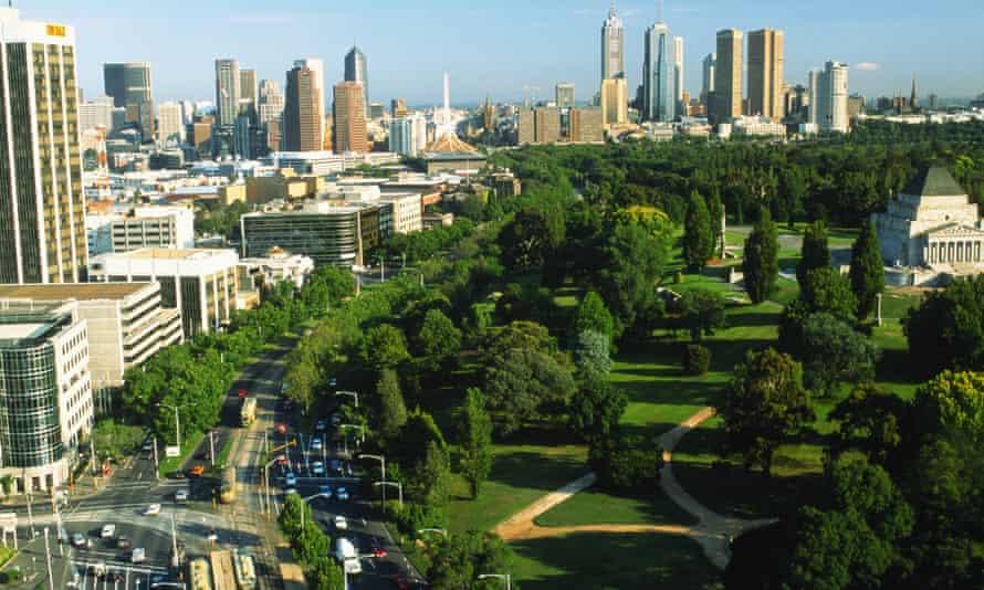 The Melbourne skyline with Domain Park.