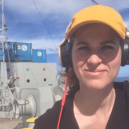 Rebecca Moss aboard the Hanjin Geneva.