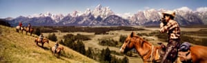 Cowboys in Grand Tetons, Wyoming, 1964. Between 1950 and 1990, Kodak produced a series of advertisements that came to be known as Coloramas.