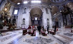 Pope Fancis celebrates Easter mass in an empty St. Peter's Basilica. Easter Sunday Mass, Vatican City, Italy, 12 April 2020