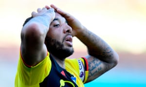 Watford's Troy Deeney reacts after his header is cleared off the line.