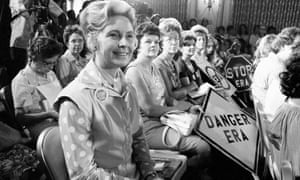 Phyllis Schlafly, foreground, the national chairman of Stop ERA, at a hearing of a Republican sub-committee on human rights in Kansas City in the 1970s. Photograph: AP