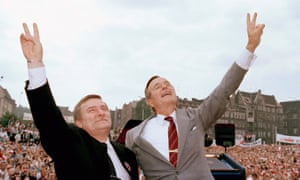 Lech Walesa with President George Bush in July 1989, shortly after Solidarity won massive electoral support in partially free elections.