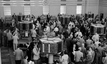 The floor of the Toronto Stock Exchange on a busy morning in 1955.