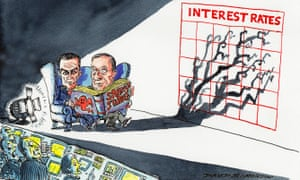 Cartoon of Mark Carney and Mario Draghi reading horror stories, their shadows casting alarming shadows on an interest rate chart.