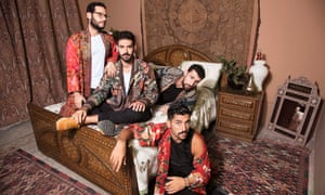 Mashrou' Leila from left to right: Firas Abou Fakher, Carl Gerges, Haig Papazian and Hamed Sinno (front).