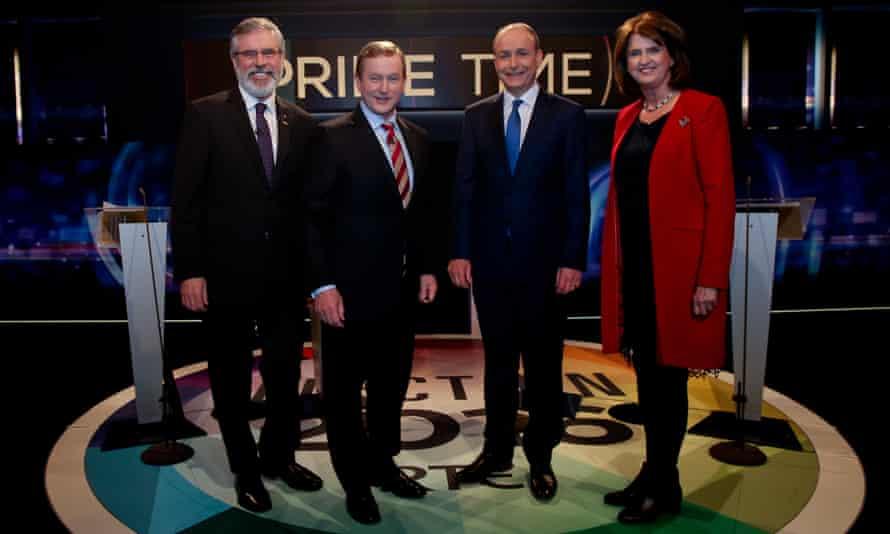Sinn Féin leader Gerry Adams, taoiseach Enda Kenny, Fianna Fail Leader Micheál Martin and Labour's Joan Burton line up for their last TV debate on RTE Prime Time on Tuesday.