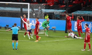 Raheem Sterling of England goes down in the box and is awarded a penalty.