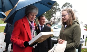Theresa May at the Royal Welsh Showground in Builth Wells on her tour of Britain.