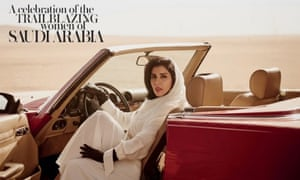 Princess Hayfa bint Abdullah Al Saud in the driving seat for the Vogue Arabia June issue front cover.