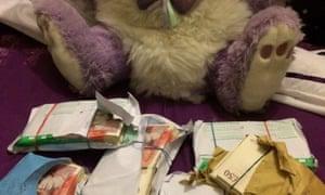 The teddy bear with money.